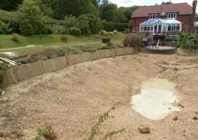 Example of Large Pond Construction including Edging